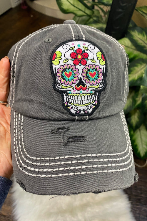 Comfortably Numb Sugar Skull Lightweight Canvas Hat with Velcro Strap