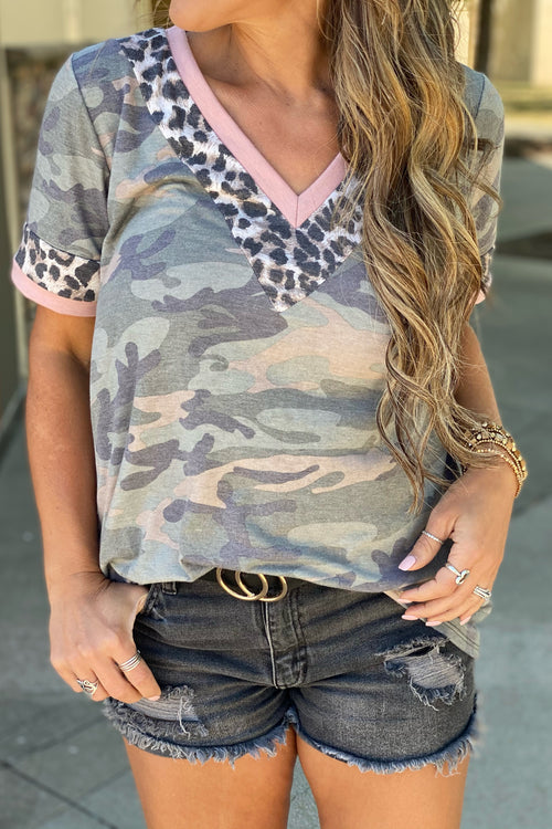 Heat Waves Short Sleeve V Neck Animal Print & Pink Contrast Detail Top, Camo