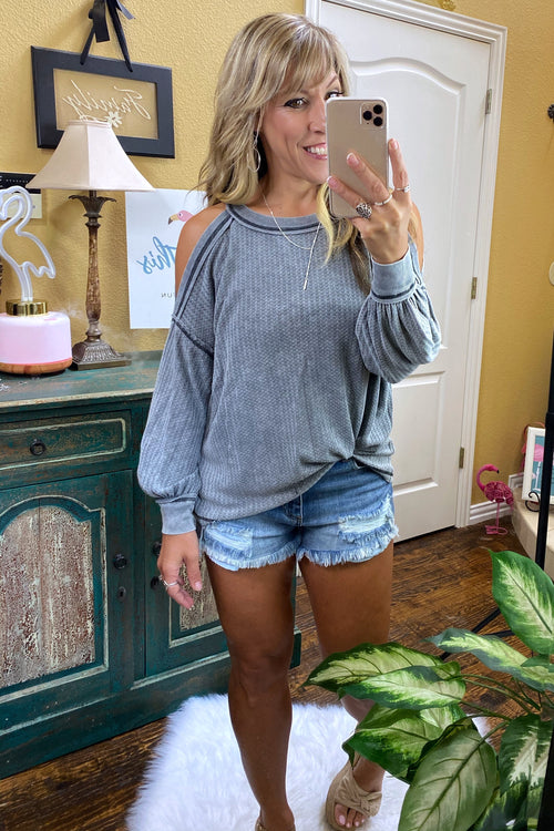 Long Sleeve Cold Shoulder Garment Dyed Thermal Knit Top, Grey, S-L
