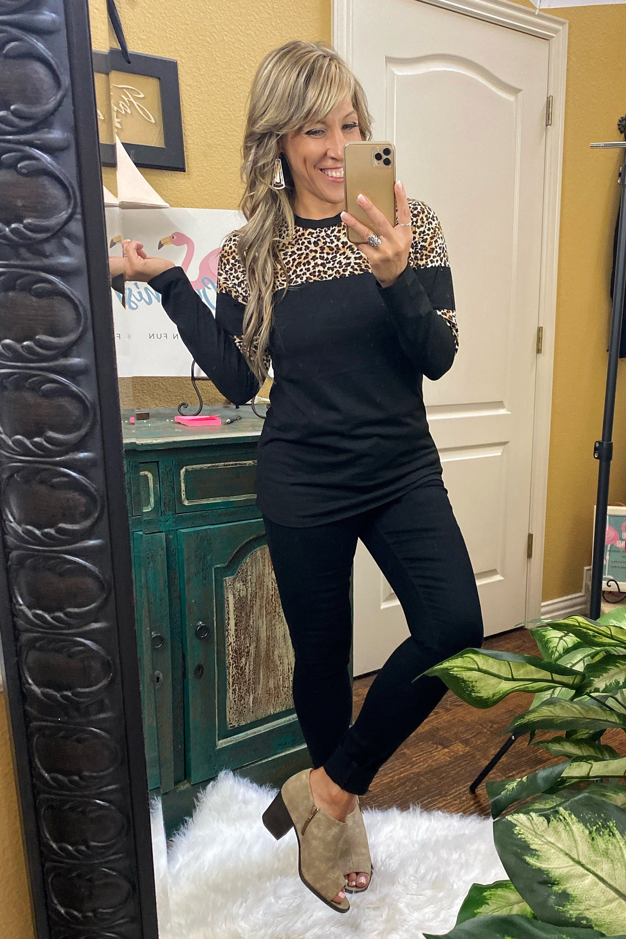 Let It Be Long Sleeve Leopard Top with Stripes, Black