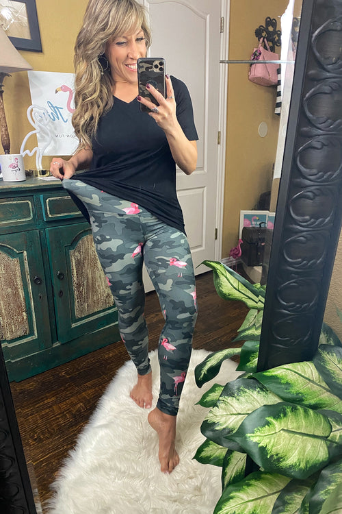 Hey Baby, If you'll be my girl Elastic Waist High Rise Buttery Soft Camo & Flamingo Print Leggings