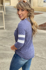 Come On Come On Triblend Colorblock Top with Button Detail Neckline, 3/4 length Sleeves, and Varsity Stripe Sleeves