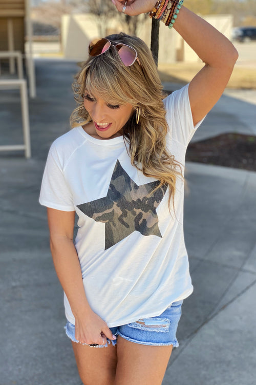 Take Me Dancing French Terry Camo Star Patched Front Top, White