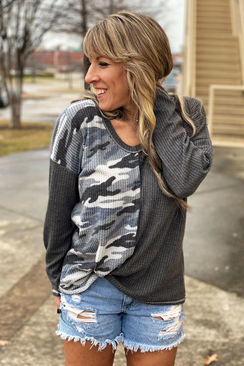 Thermal Waffle Deep U Neck Top with Camouflage Block & Cutting Edge Neck Detail, Charcoal  Crush on this Denton Texas 76210
