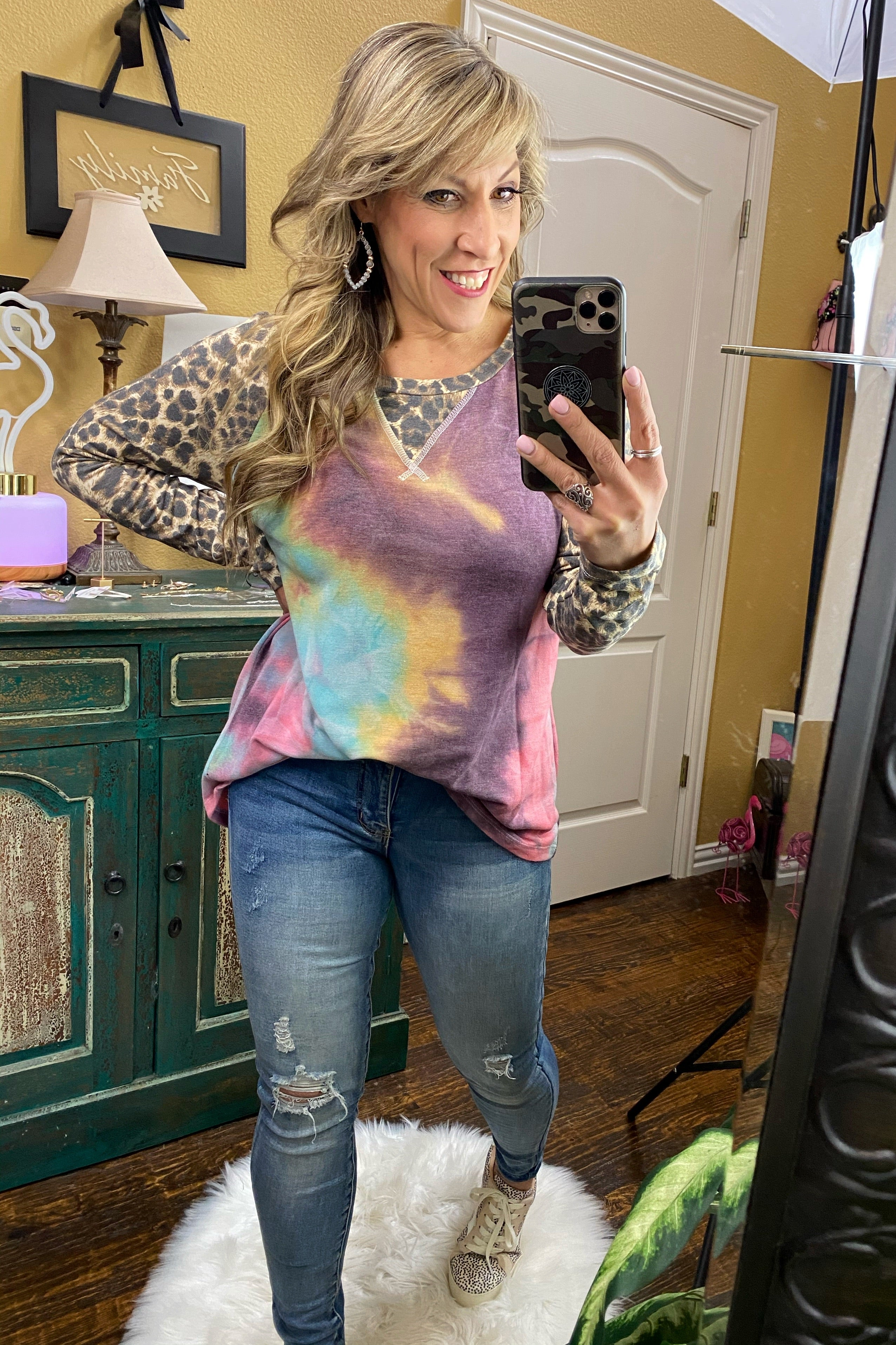 Daydreamer Long Sleeve Raglan with Vibrant Tie-dye Body & Contrast Animal Print Sleeve