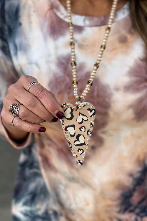 Heart Of Gold Animal Print Heart Pendant Necklace