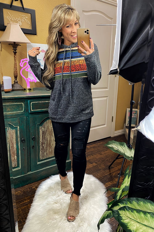 Love Zone Multi Color Long Sleeve Hoodie with Banded Hem