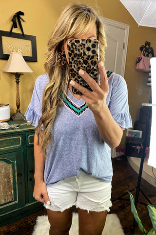 Strong Enough Solid V Neck Tee with Stripe & Crochet Pocket Detail, Mint
