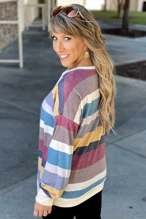 Part Of Me Stripe Drop Shoulder Pullover with Banded Hem & Cross Stitch Neck Detail