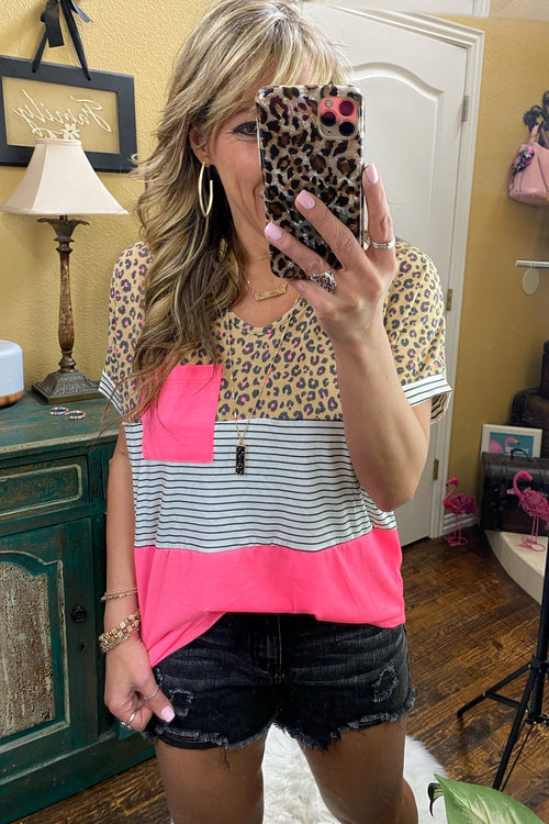 Makes Me Go Crazy Color Block Pocket Top, Neon Pink