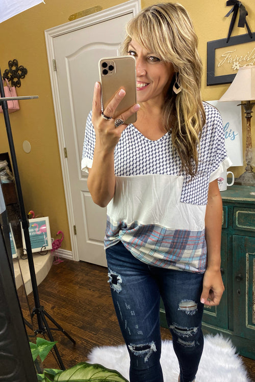 V Neck Color Block Top with Plaid & Hoodstooth Details, S-XL, Grey