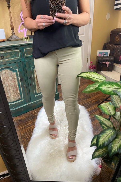 Forever & Always Hyperstretch Long Lasting Color Mid-Rise Skinny Jean by YMI, Sand