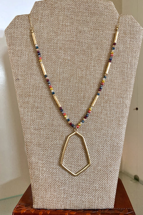 Dark Multi Shimmery Glass Beaded Geometric Necklace, Gold