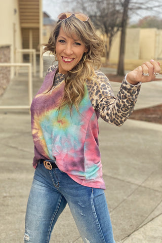 Is This Love? Paisley Leopard Contrast Chevron Colorblock Top, S-XL