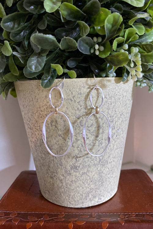 Double Link Earrings with Gold Detail, Silver