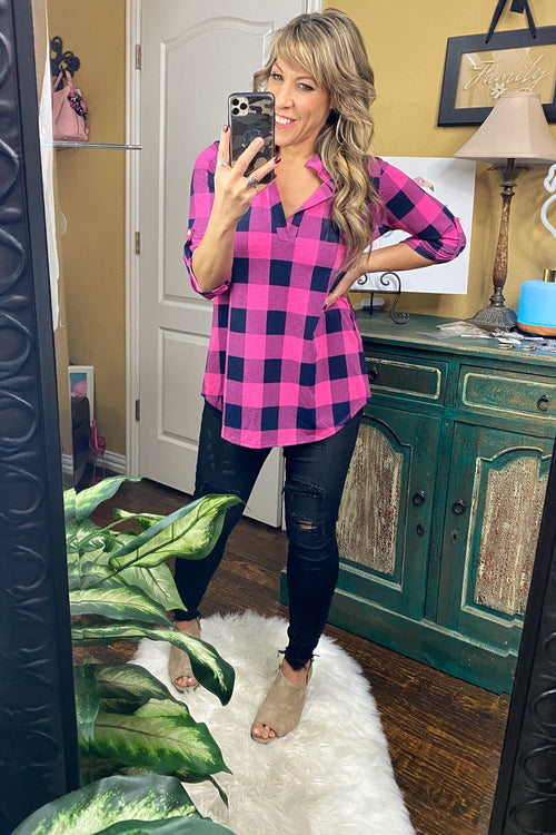 Elastic Love Long Sleeve Mandarian Neck Line Plaid Tunic, Pink & Navy
