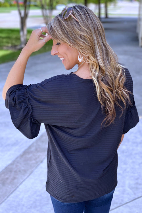 Fall Double Ruffle Sleeved Top with Stripe Detail, Black