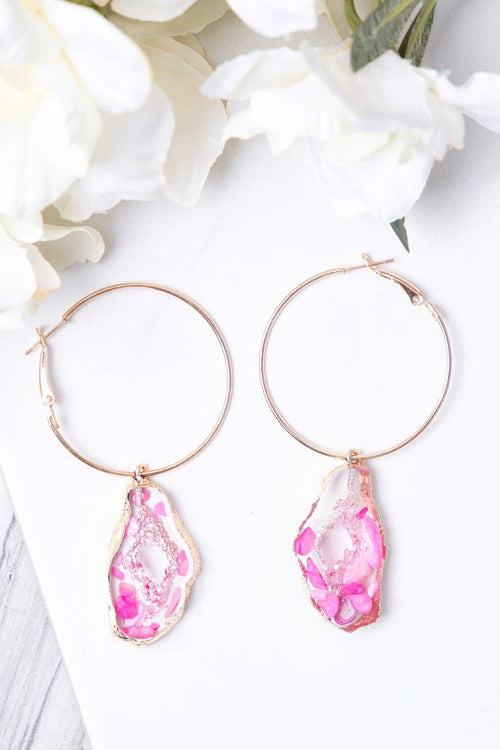 Trust Me Lightweight Geode Hoop Earrings, Pink