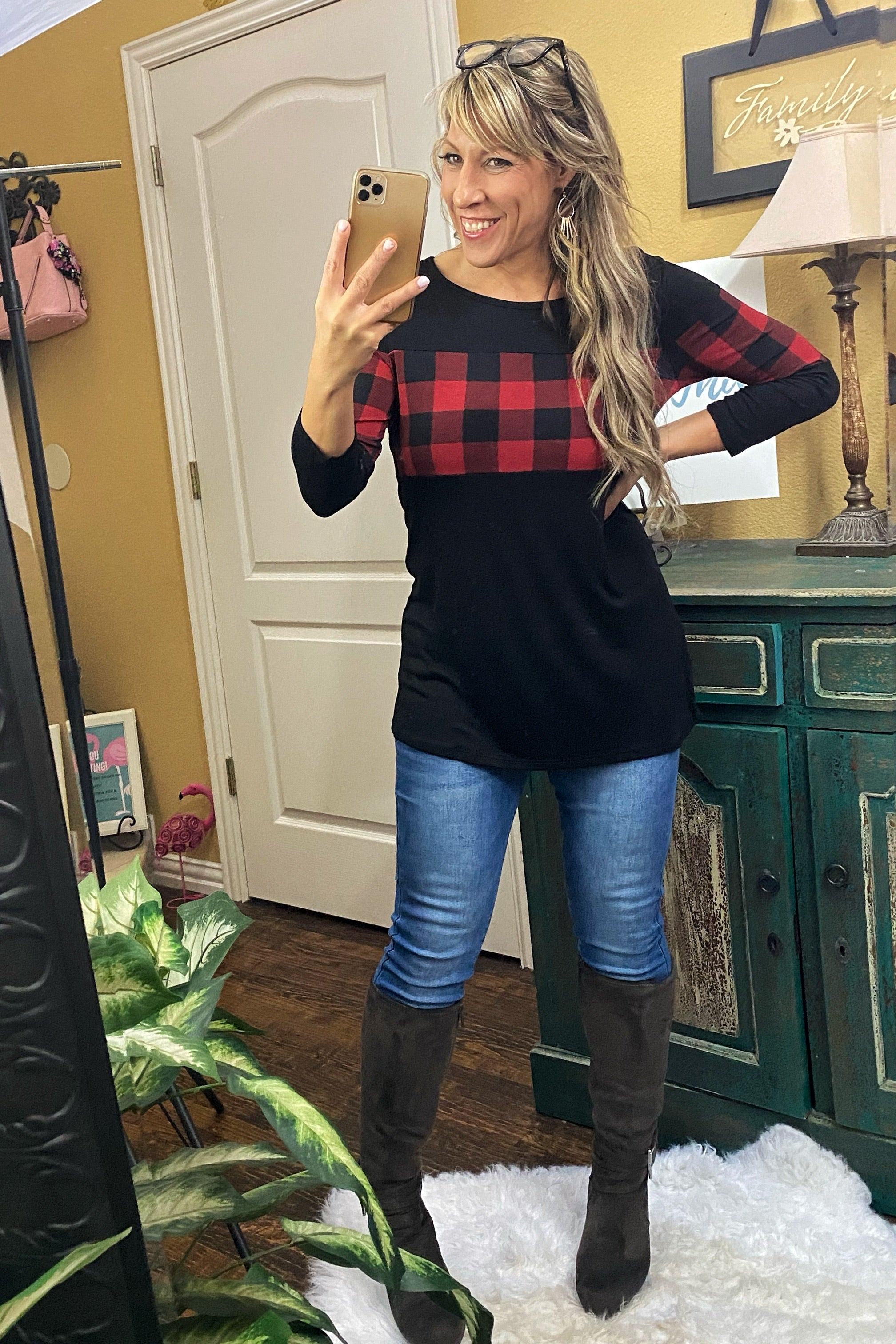 Heart & Soul Long Sleeve Solid & Plaid Print Contrast Top