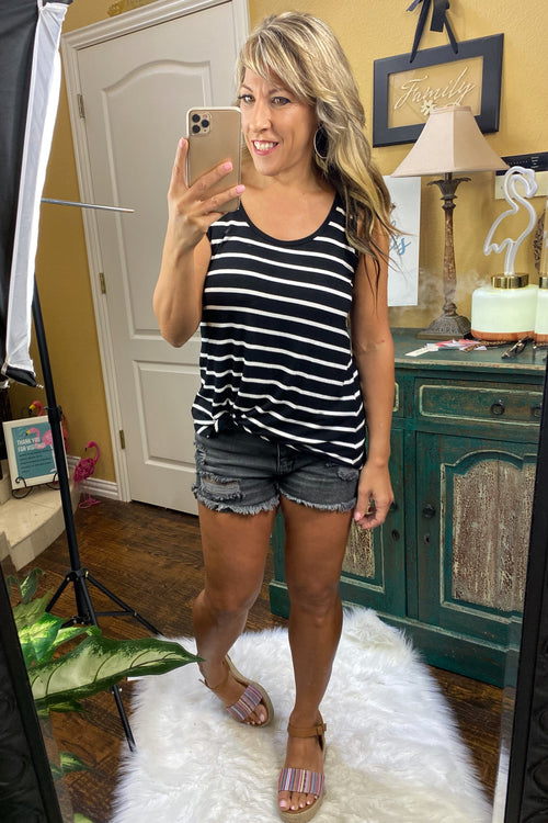 Everyone Needs One Striped Tank with Curved Hem, S-XL, Black