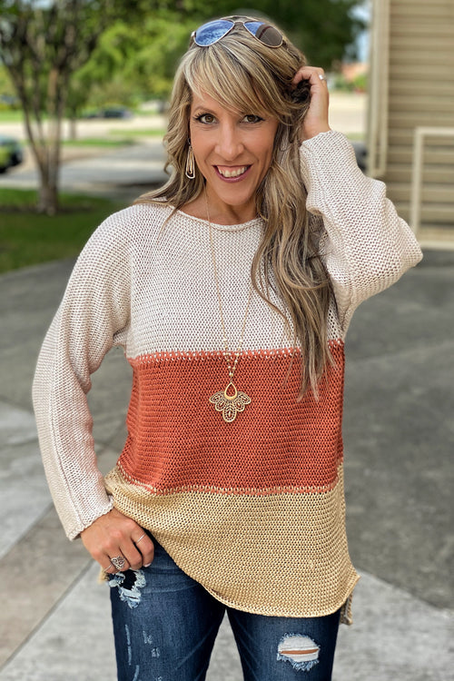 Acapella Color Blocked Open Weave Sweater