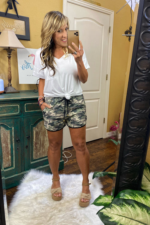 Mid Rise Everyday Camo Print Shorts with Elastic Tie Waist, Drawstring, and Pockets
