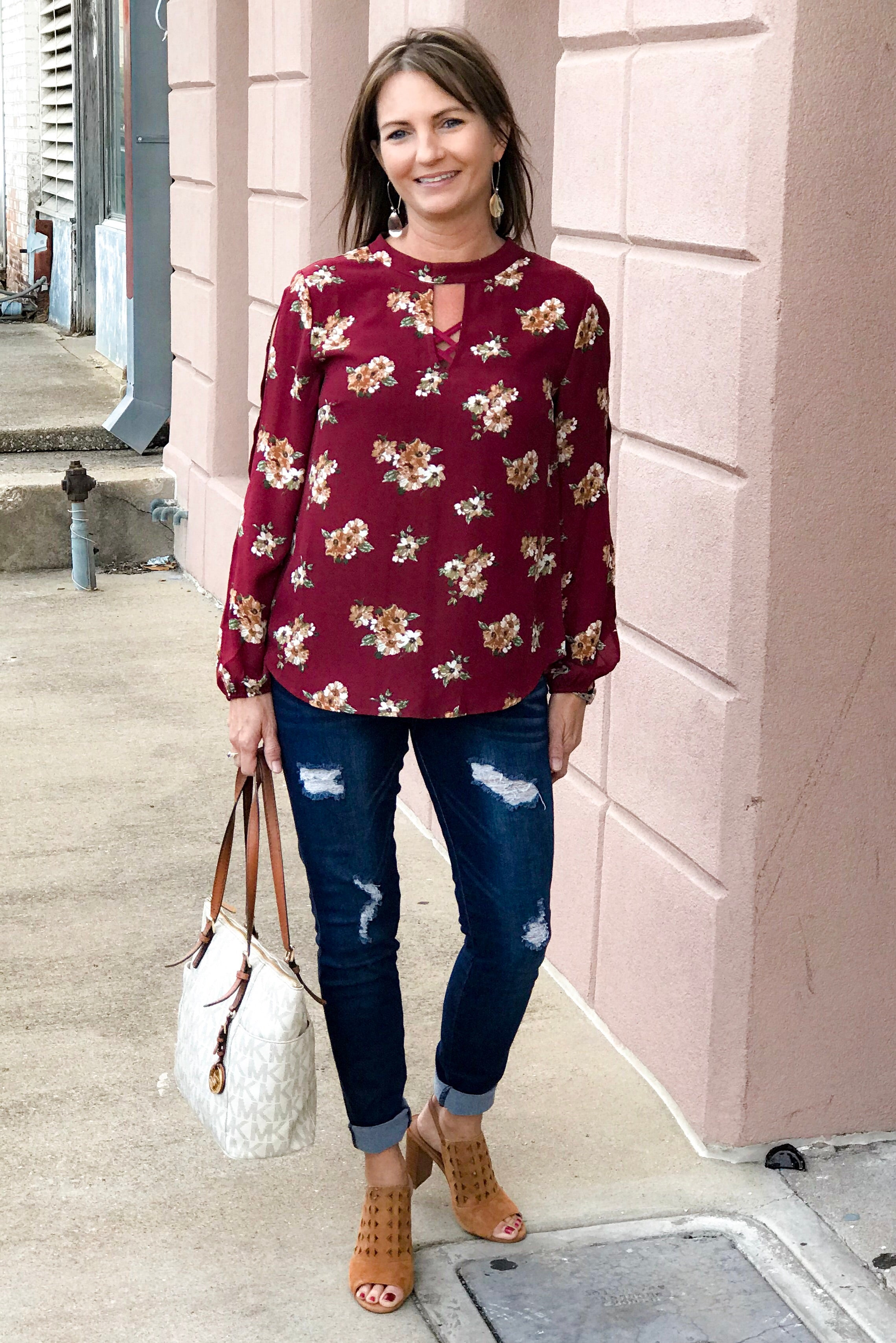 Zoey Floral Open Sleeve Blouse, Burgundy
