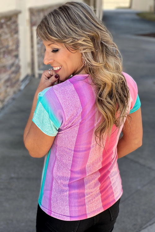 The Show Must Go On Vertical Stripe Multi Color Top with Self Tie
