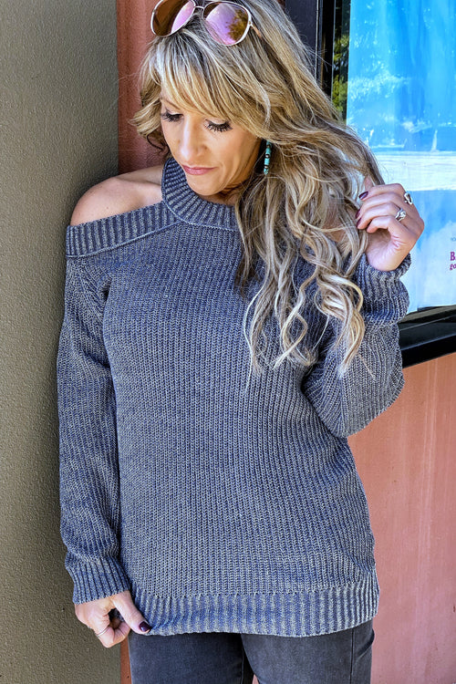 Gonna Be Me Open Cold Shoulder Sweater with Back Cutout detail
