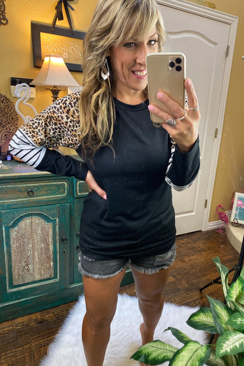 Going Out Like That Varsity Stripe Long Sleeve & Animal Print Top, Black