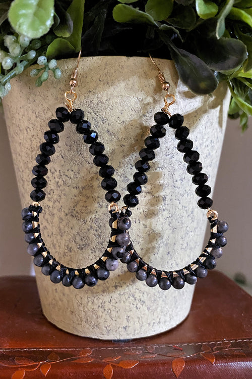 Crystal Bead Statement Earrings, Black
