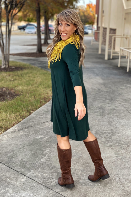 Dance For You 3/4 Sleeve Dress with Pockets, Hunter