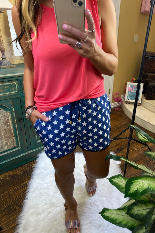 Star Print Mid Rise Print Everyday Shorts with Tie & Elastic Wiast with Pockets
