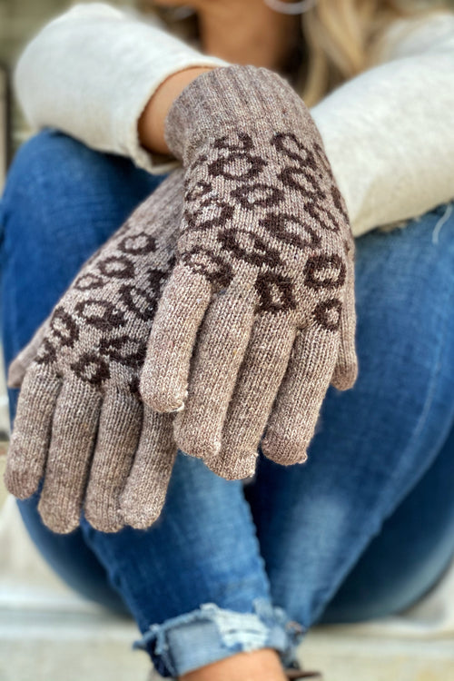 Smart Touch Animal Print Gloves, Brown