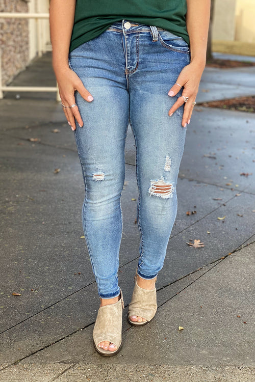 Bluebird YMI WannaBettaButt Mid Rise Skinny Jean Made with Recycled Fibers