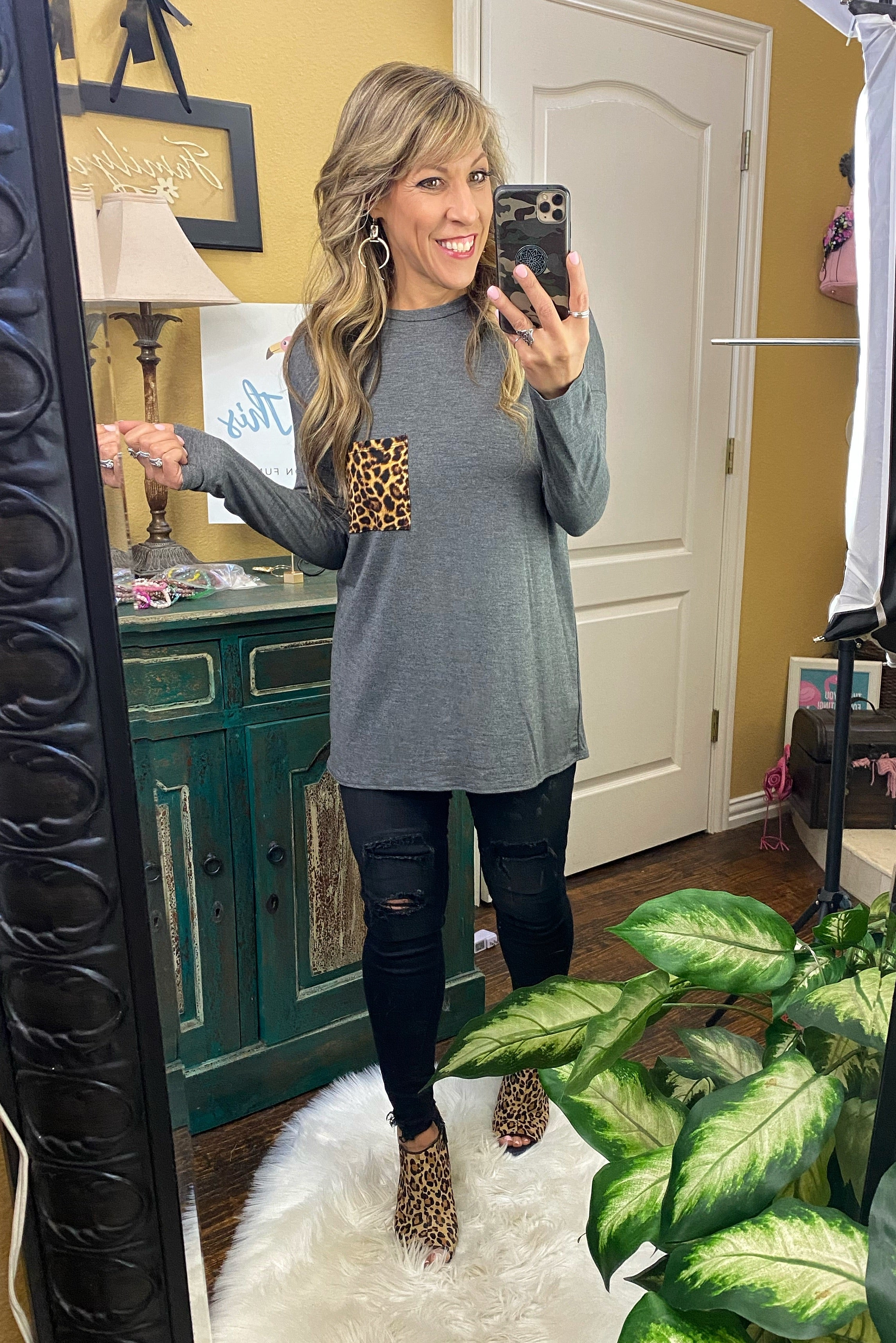What About Us Long Sleeve Chest Pocket Tunic, Grey