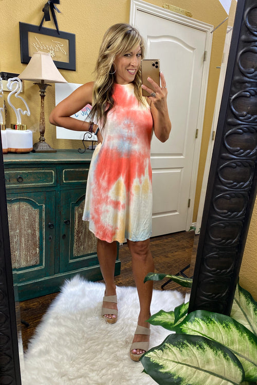 Sleeveless Tie-Dye Halter Dress with Key Hole Button Closure, Coral / Blue /Yellow, S-XL