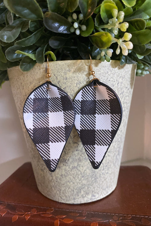 Move Over Plaid Pinched Leather Earrings, Black & White