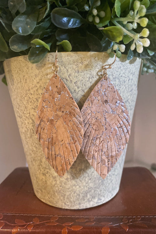 feather Shaped Leather dangle earrings with Silver Accents
