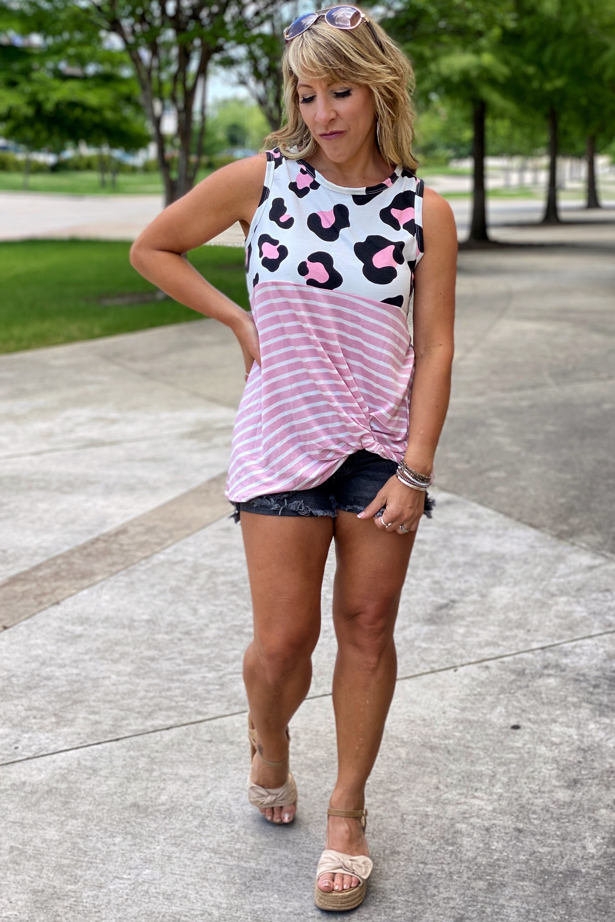 Final Sale -Animal Print & Stripe Sleeveless Color Block Tank Top with Knotted Hem, S-L