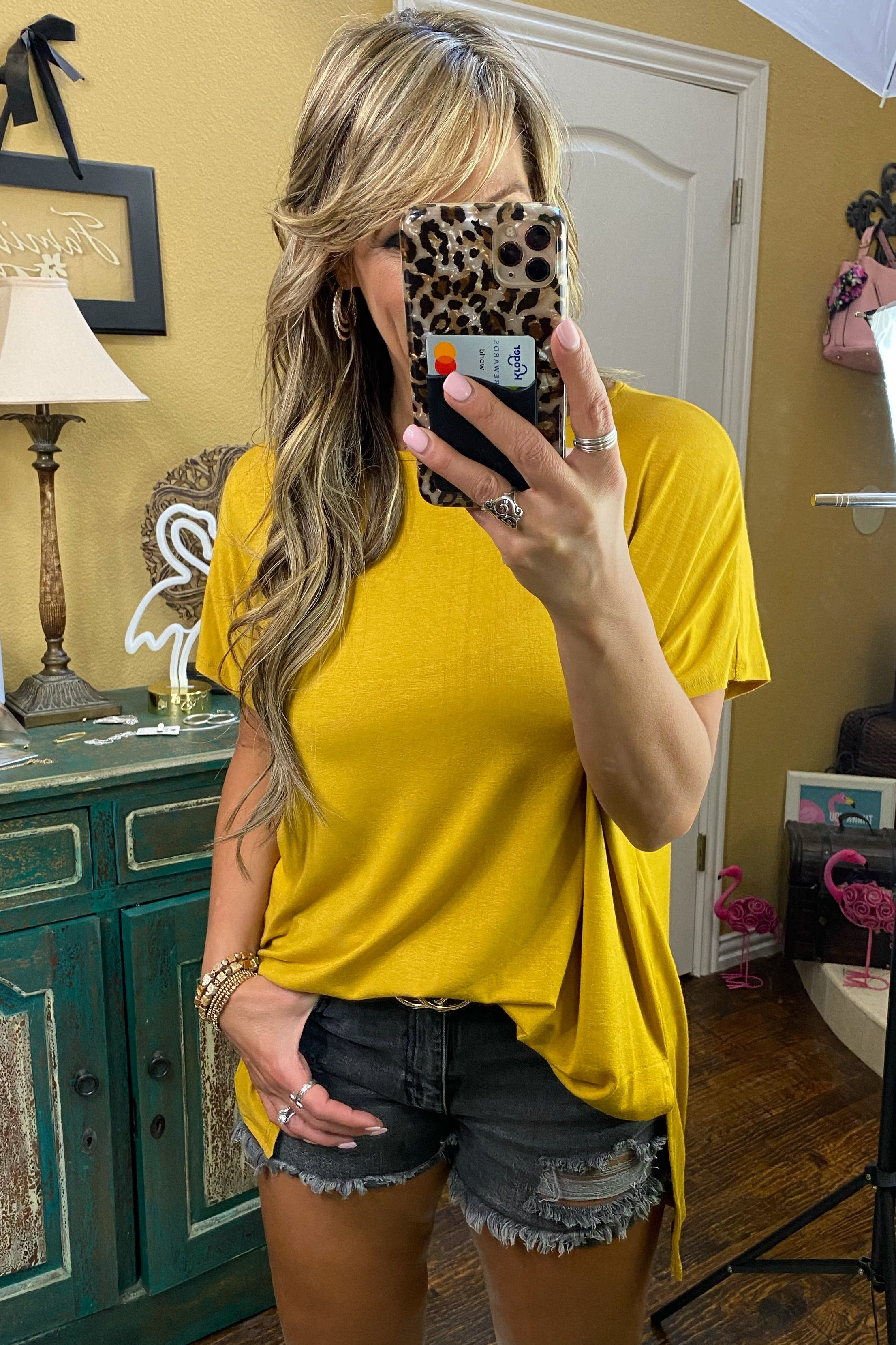 Save Your Tears Piko Style Short Sleeve Top, Mustard
