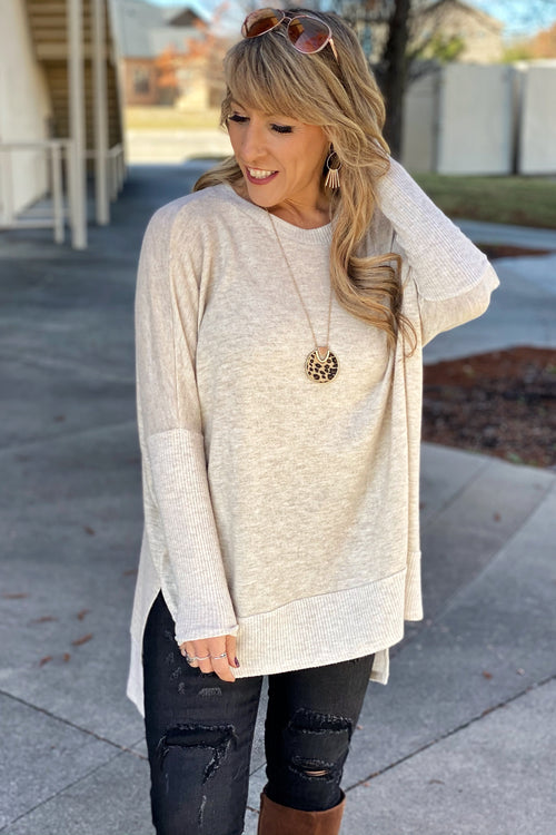 Rumor Has It Oversized Lightweight Brushed Knit Tunic with Side Splits, Oatmeal