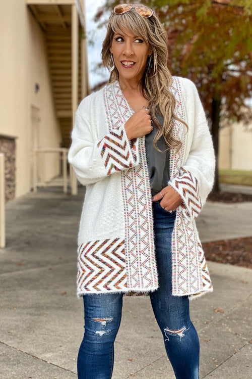 Women's Colorized Zigzag Open Front Cardigan Sweater