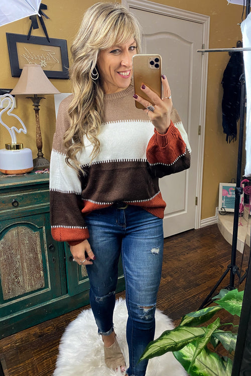 Uptown Girl Color Block Stripe Sweater