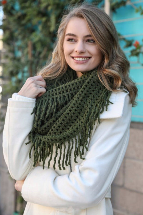 Lattice Knit Tassel Infinity Scarf, Olive