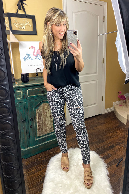 Wild Cherry Print Ankle Jeans by L&B