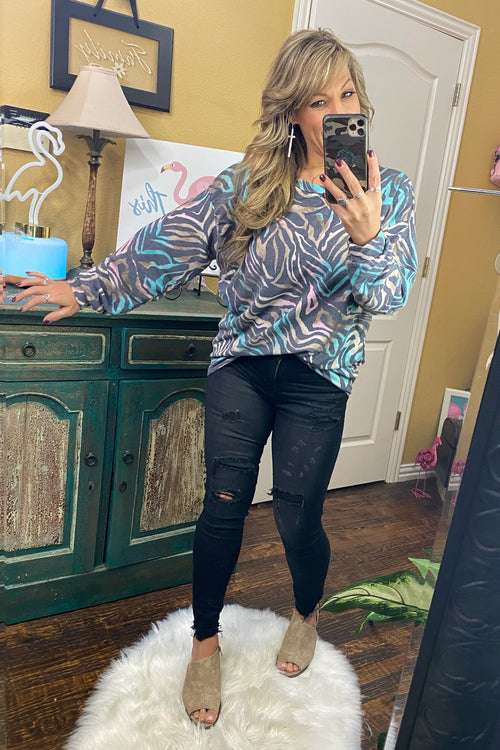 Sweet Nothing Long Sleeve Multi-Colored Zebra Print Top with fitted Waistband