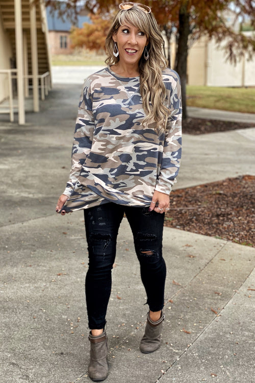 Love on Arrival Long Sleeve Camo Pullover with Criss Cross Stitch Neckline & Cross Sewn Hem