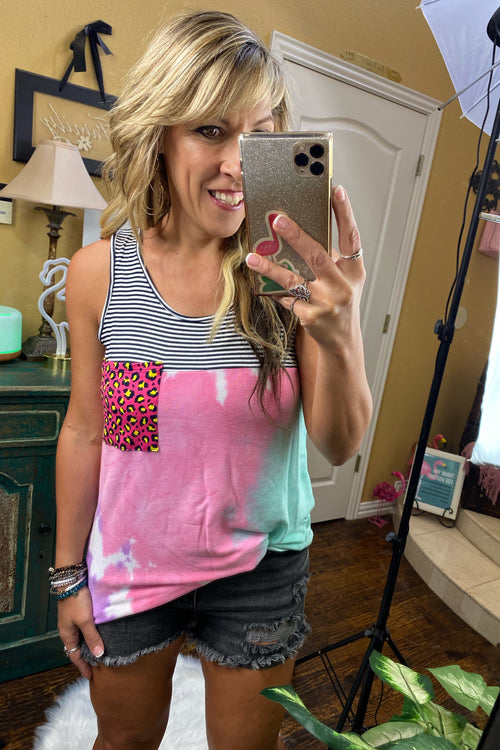 Poptart French Terry Tie Dye Tank Top with Pinstripe yoke & Pop of Animal Print on Pocket, S-XL