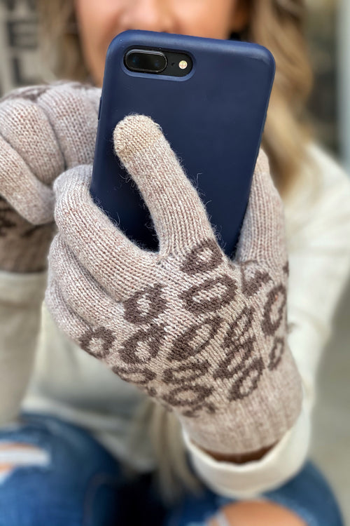 Smart Touch Animal Print Gloves, Tan